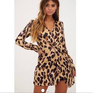 PRETTYLITTLETHING SILK CHEETAH PRINT MINI DRESS